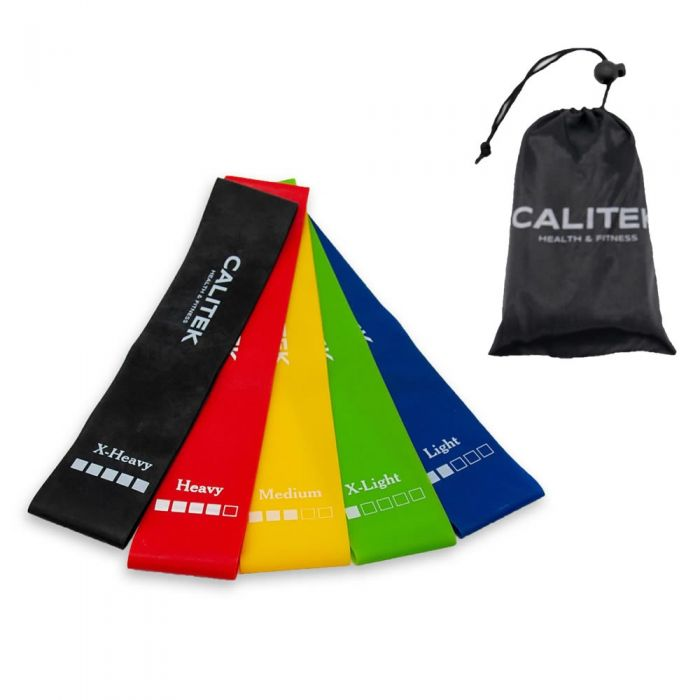 5Pcs Resistance Loop Bands for Exercise Sports Fitness Home Gym Yoga Calitek Set
